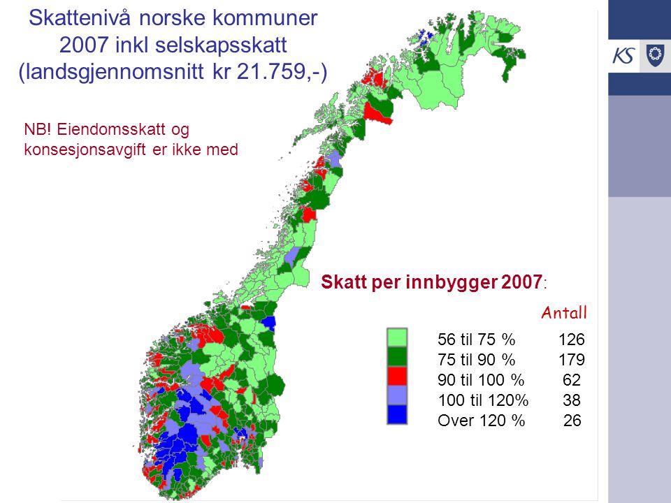 56 til 75 % 126 75 til 90 % 179 90 til 100 % 62 100 til 120% 38 Over 120 % 26 Skatt per innbygger 2007 : Skattenivå norske kommuner 2007 inkl selskaps