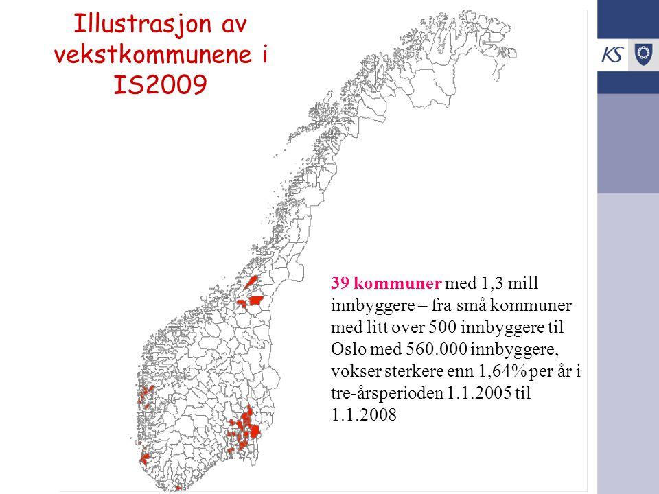 Illustrasjon av vekstkommunene i IS2009 39 kommuner med 1,3 mill innbyggere – fra små kommuner med litt over 500 innbyggere til Oslo med 560.000 innby