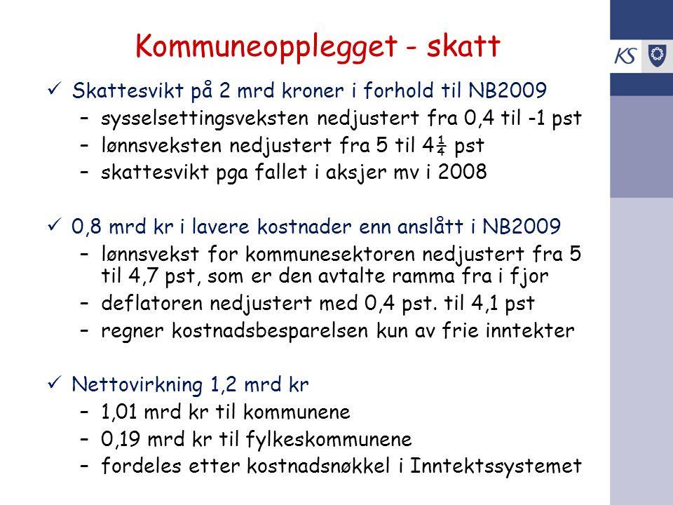 Kommuneopplegget - skatt Skattesvikt på 2 mrd kroner i forhold til NB2009 –sysselsettingsveksten nedjustert fra 0,4 til -1 pst –lønnsveksten nedjuster