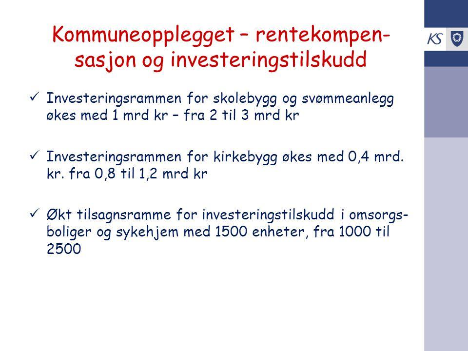 Kommuneopplegget – rentekompen- sasjon og investeringstilskudd Investeringsrammen for skolebygg og svømmeanlegg økes med 1 mrd kr – fra 2 til 3 mrd kr