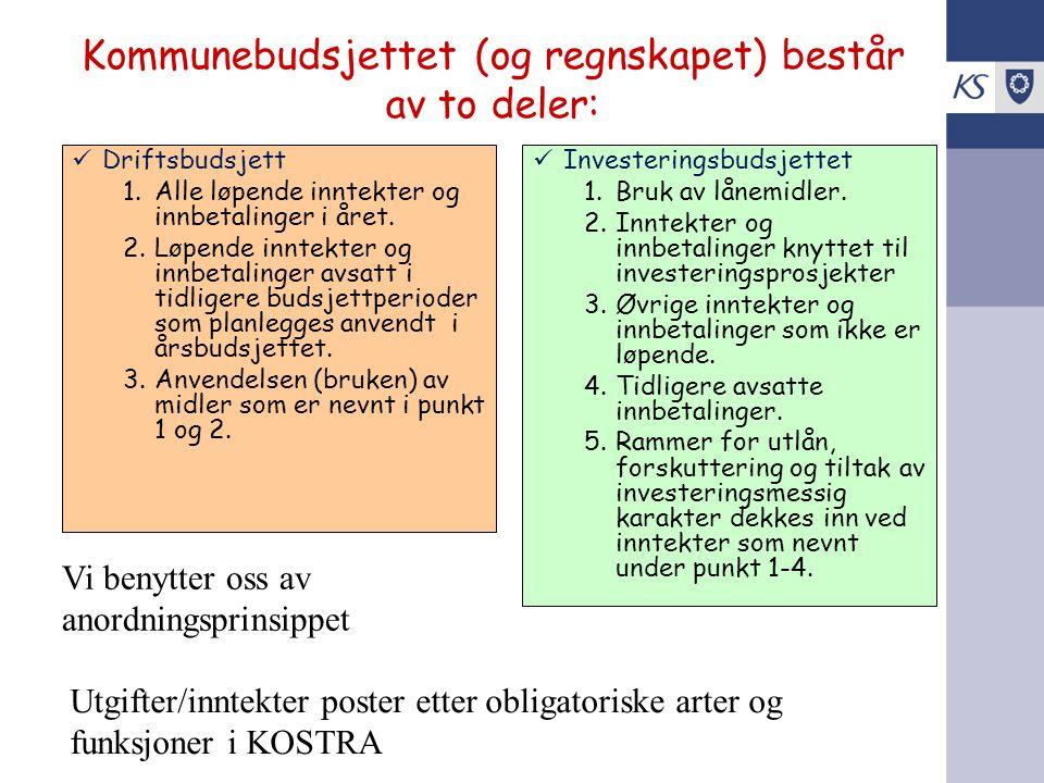 Kommunebudsjettet (og regnskapet) består av to deler: Driftsbudsjett 1.Alle løpende inntekter og innbetalinger i året. 2.Løpende inntekter og innbetal