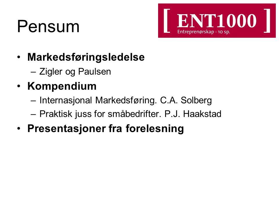 Pensum Markedsføringsledelse –Zigler og Paulsen Kompendium –Internasjonal Markedsføring.