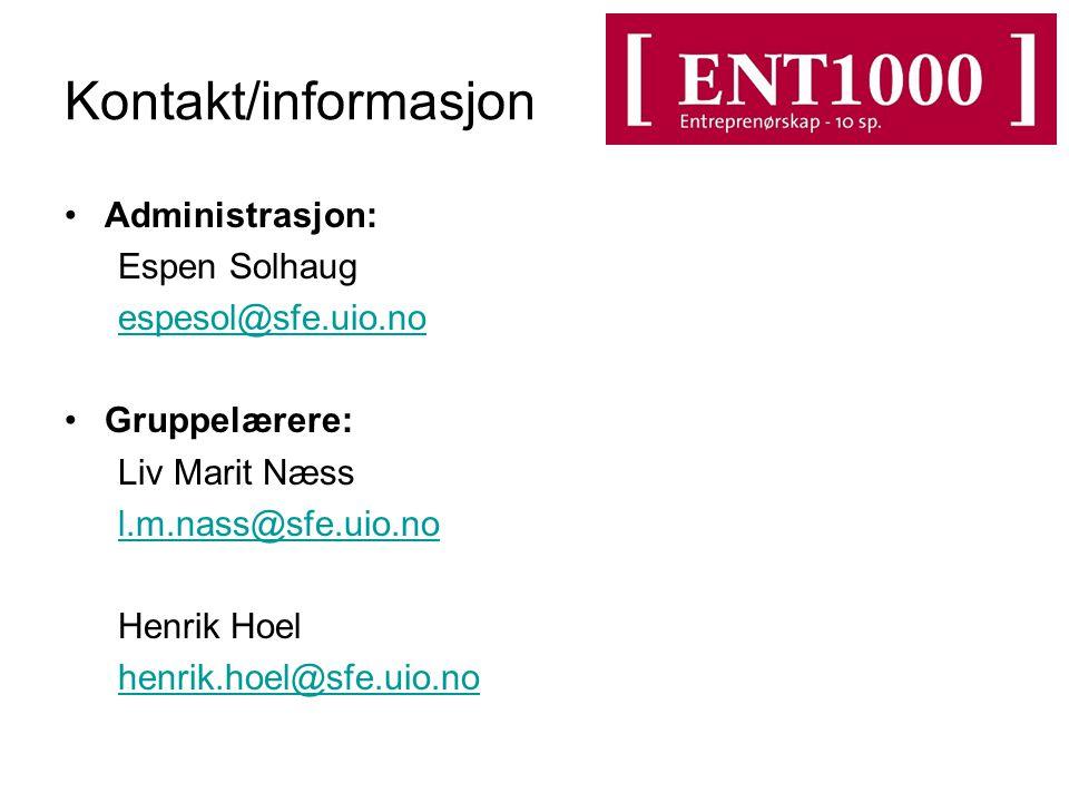 Kontakt/informasjon Administrasjon: Espen Solhaug espesol@sfe.uio.no Gruppelærere: Liv Marit Næss l.m.nass@sfe.uio.no Henrik Hoel henrik.hoel@sfe.uio.no