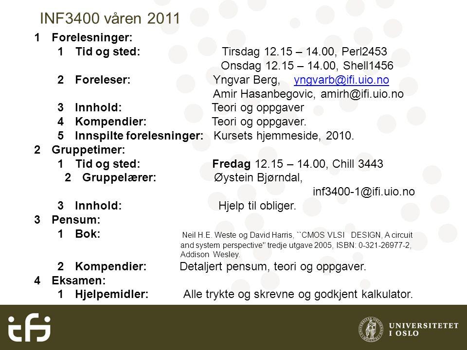 INF3400 våren 2011 1Forelesninger: 1Tid og sted: Tirsdag 12.15 – 14.00, Perl2453 Onsdag 12.15 – 14.00, Shell1456 2Foreleser: Yngvar Berg, yngvarb@ifi.