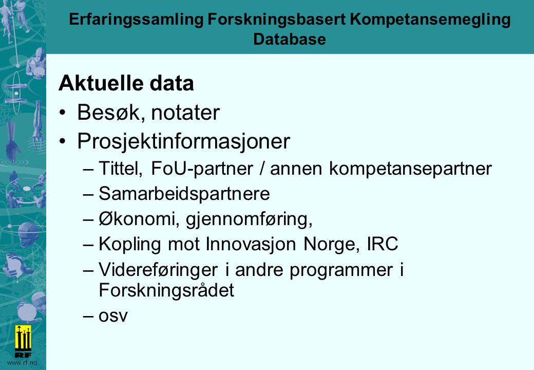 www.rf.no Erfaringssamling Forskningsbasert Kompetansemegling Database Autoriserte brukere gis adgang til Fellesområde Eget programområde