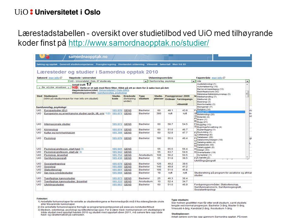 Lærestadstabellen - oversikt over studietilbod ved UiO med tilhøyrande koder finst på http://www.samordnaopptak.no/studier/http://www.samordnaopptak.no/studier/