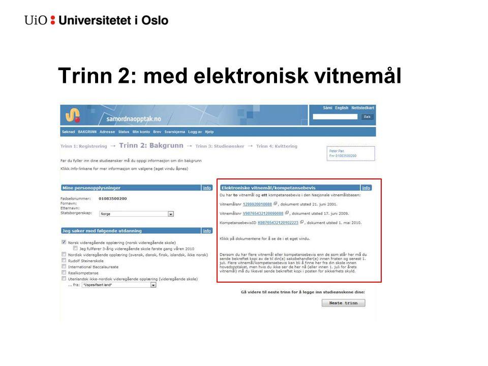 Trinn 3: Registrering av studieønsker