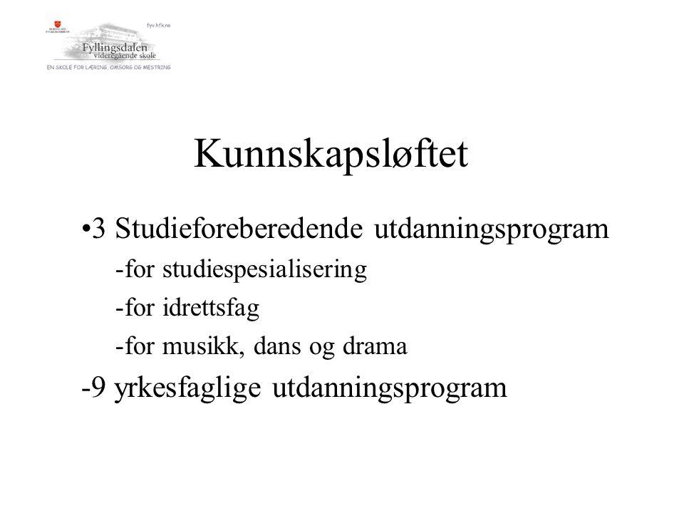 Kunnskapsløftet 3 Studieforeberedende utdanningsprogram -for studiespesialisering -for idrettsfag -for musikk, dans og drama -9 yrkesfaglige utdanningsprogram