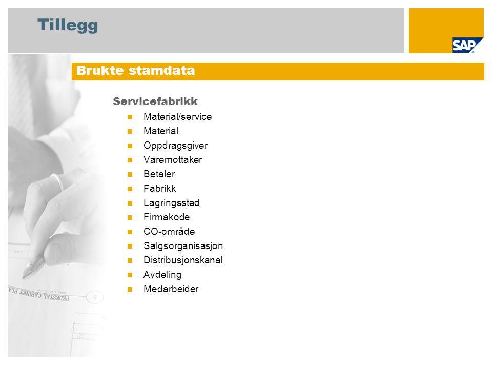 Tillegg Servicefabrikk Material/service Material Oppdragsgiver Varemottaker Betaler Fabrikk Lagringssted Firmakode CO-område Salgsorganisasjon Distribusjonskanal Avdeling Medarbeider Brukte stamdata