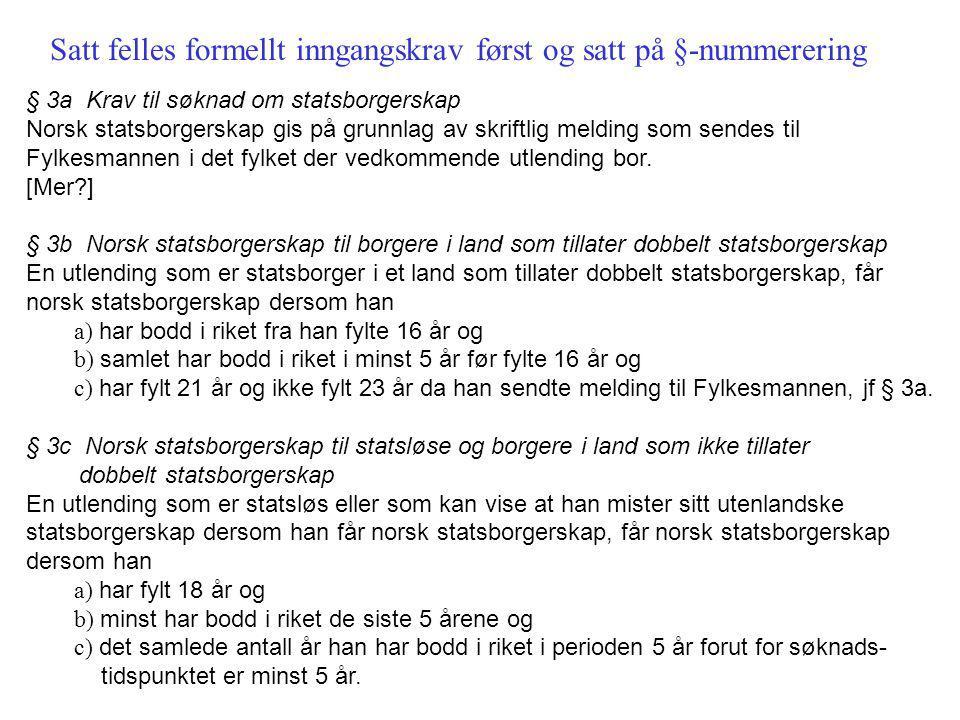§ 3a Krav til søknad om statsborgerskap Norsk statsborgerskap gis på grunnlag av skriftlig melding som sendes til Fylkesmannen i det fylket der vedkommende utlending bor.