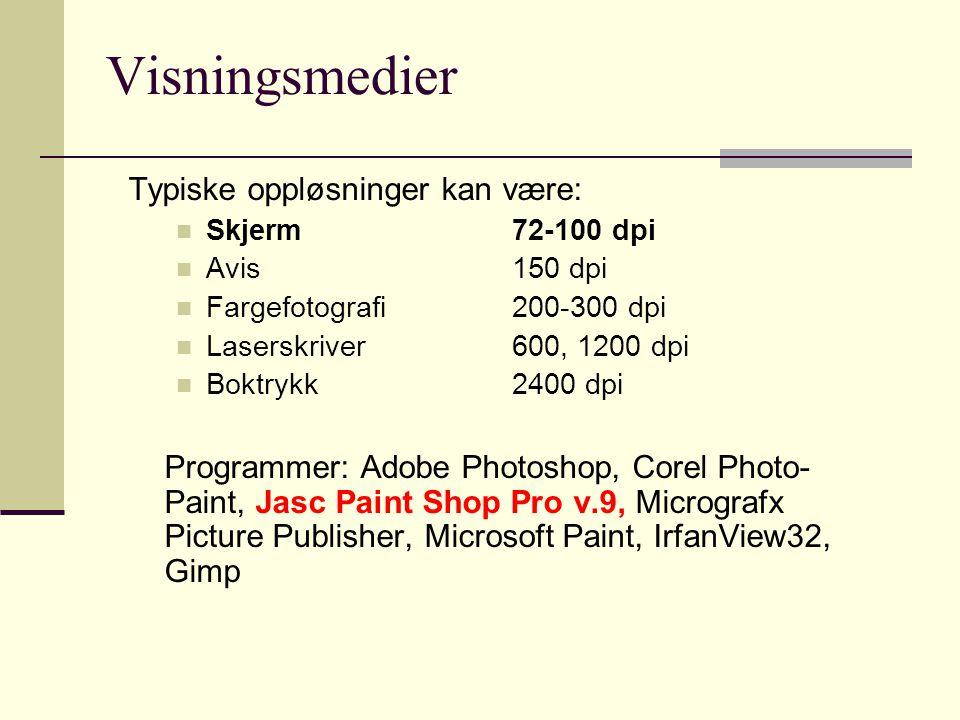 Visningsmedier Typiske oppløsninger kan være: Skjerm72-100 dpi Avis150 dpi Fargefotografi200-300 dpi Laserskriver600, 1200 dpi Boktrykk2400 dpi Programmer: Adobe Photoshop, Corel Photo- Paint, Jasc Paint Shop Pro v.9, Micrografx Picture Publisher, Microsoft Paint, IrfanView32, Gimp