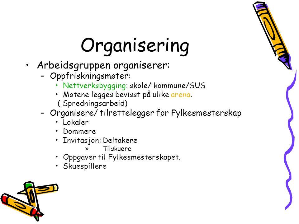Organisering Arbeidsgruppen organiserer: –Oppfriskningsmøter: Nettverksbygging: skole/ kommune/SUS Møtene legges bevisst på ulike arena. ( Spredningsa