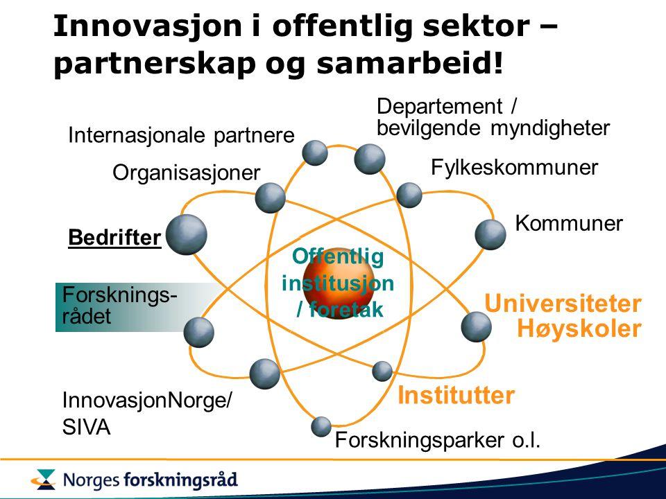Forsknings- rådet Universiteter Høyskoler Fylkeskommuner Kommuner Forskningsparker o.l.