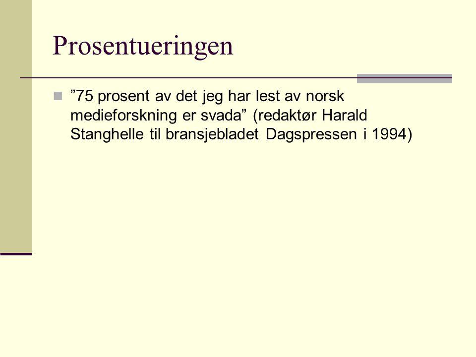 Prosentueringen 75 prosent av det jeg har lest av norsk medieforskning er svada (redaktør Harald Stanghelle til bransjebladet Dagspressen i 1994)