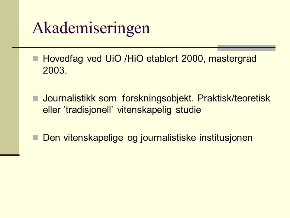 Akademiseringen Hovedfag ved UiO /HiO etablert 2000, mastergrad 2003. Journalistikk som forskningsobjekt. Praktisk/teoretisk eller 'tradisjonell' vite