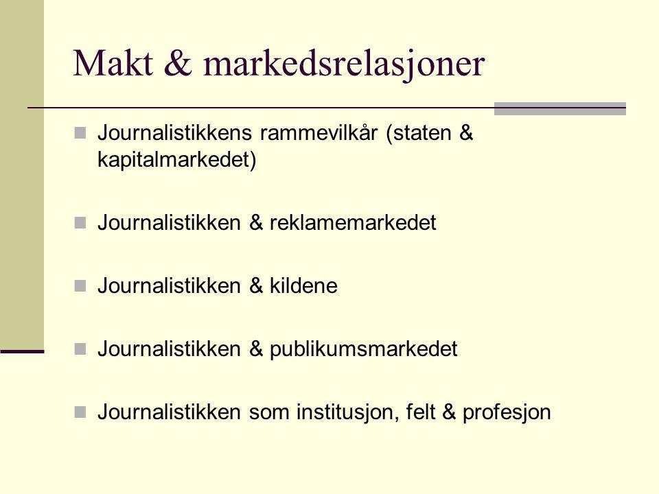 Makt & markedsrelasjoner Journalistikkens rammevilkår (staten & kapitalmarkedet) Journalistikken & reklamemarkedet Journalistikken & kildene Journalistikken & publikumsmarkedet Journalistikken som institusjon, felt & profesjon