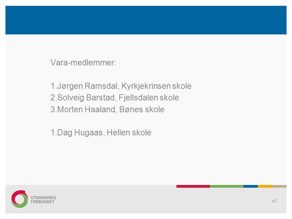 Vara-medlemmer: 1.Jørgen Ramsdal, Kyrkjekrinsen skole 2.Solveig Barstad, Fjellsdalen skole 3.Morten Haaland, Bønes skole 1.Dag Hugaas, Hellen skole s3