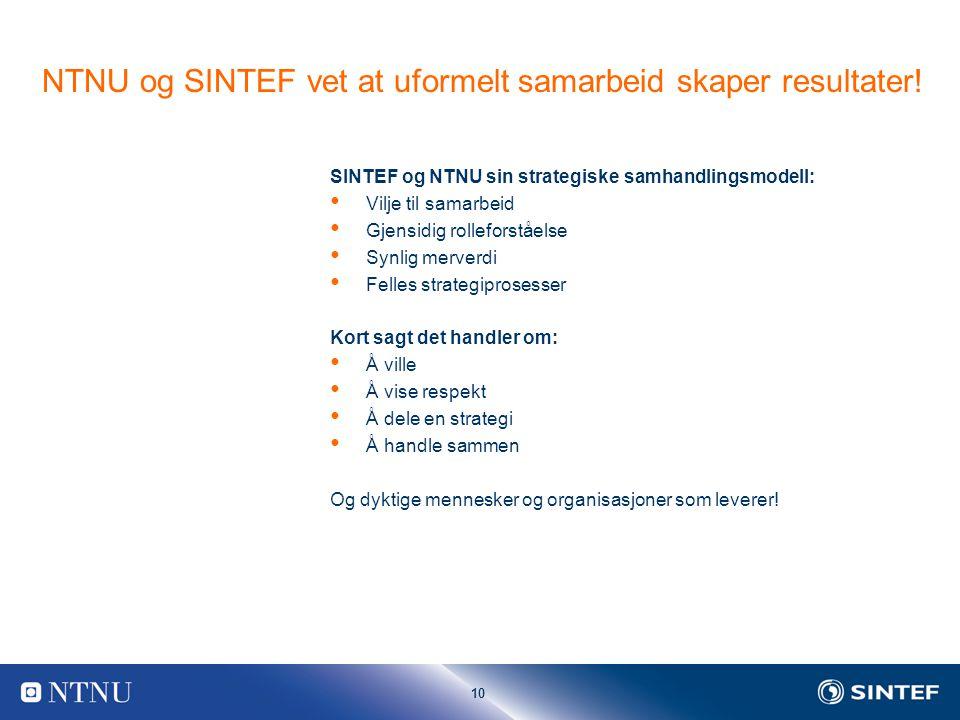 10 NTNU og SINTEF vet at uformelt samarbeid skaper resultater.