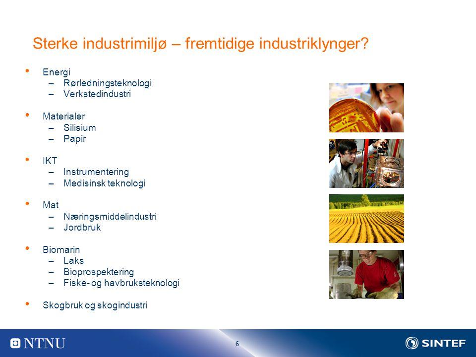 6 Sterke industrimiljø – fremtidige industriklynger.