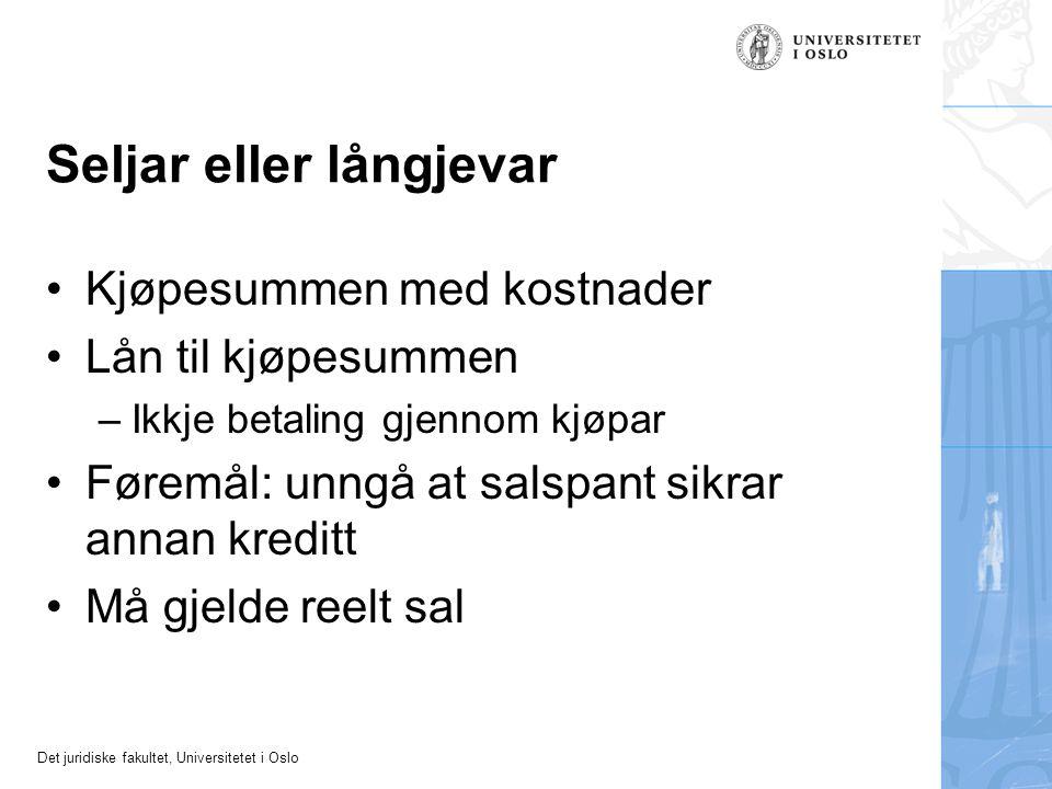 Det juridiske fakultet, Universitetet i Oslo Leverandørkreditt Garantiar, pant i andre formuesgode m.m.