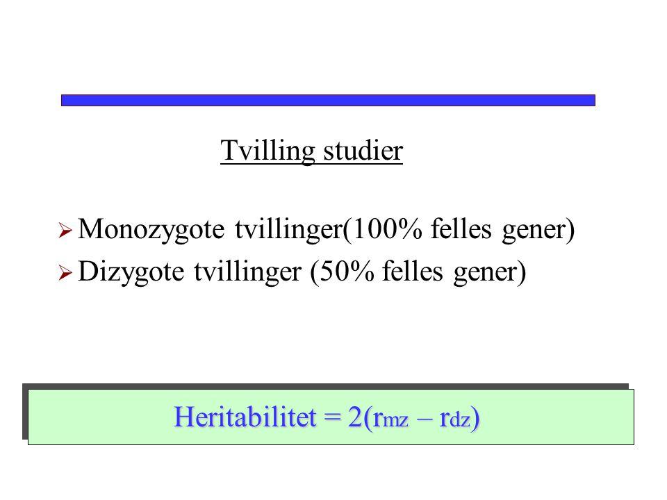 Tvilling studier  Monozygote tvillinger(100% felles gener)  Dizygote tvillinger (50% felles gener) Heritabilitet = 2(r mz – r dz )