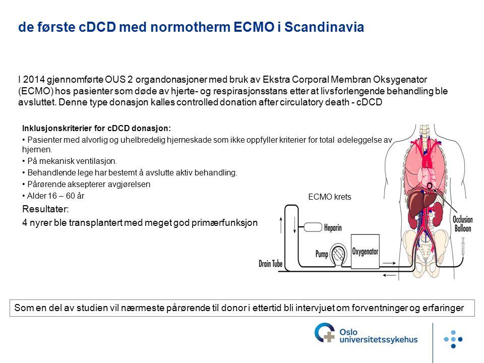 de første cDCD med normotherm ECMO i Scandinavia I 2014 gjennomførte OUS 2 organdonasjoner med bruk av Ekstra Corporal Membran Oksygenator (ECMO) hos