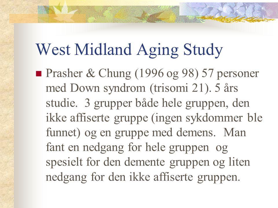West Midland Aging Study Prasher & Chung (1996 og 98) 57 personer med Down syndrom (trisomi 21). 5 års studie. 3 grupper både hele gruppen, den ikke a