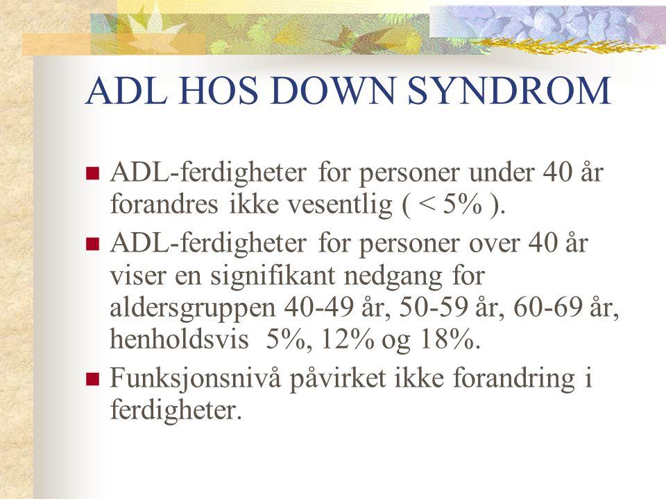 ADL HOS DOWN SYNDROM ADL-ferdigheter for personer under 40 år forandres ikke vesentlig ( < 5% ). ADL-ferdigheter for personer over 40 år viser en sign