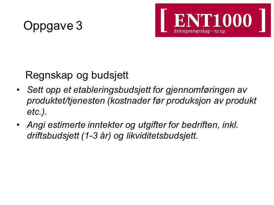 Oppgave 3 Regnskap og budsjett Sett opp et etableringsbudsjett for gjennomføringen av produktet/tjenesten (kostnader før produksjon av produkt etc.).