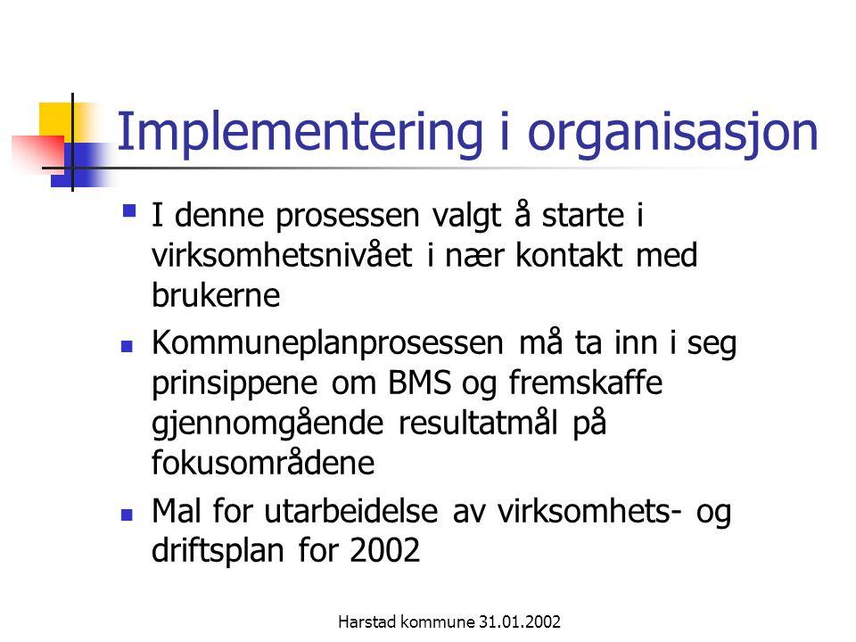 Harstad kommune 31.01.2002 Implementering i organisasjon Oppstartsseminar barnehager 2.5.01 og skoler 3.5.01 og øvrig organisasjon 31.05.01.