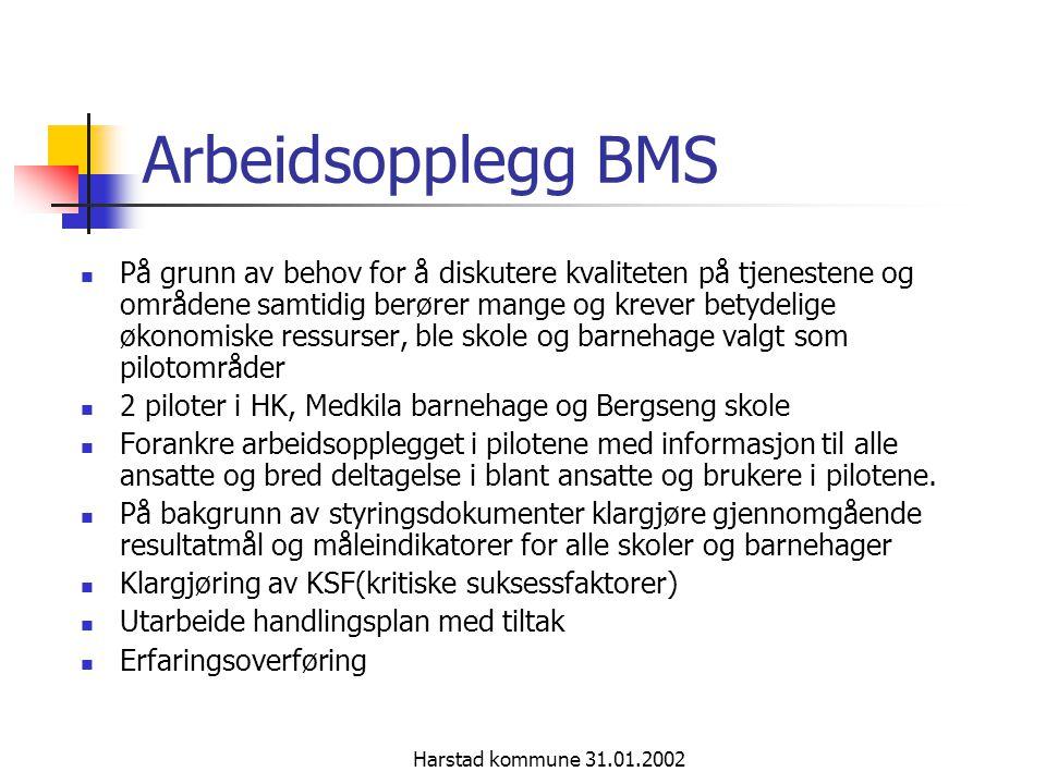 Harstad kommune 31.01.2002 Arbeidsopplegg BMS På grunn av behov for å diskutere kvaliteten på tjenestene og områdene samtidig berører mange og krever