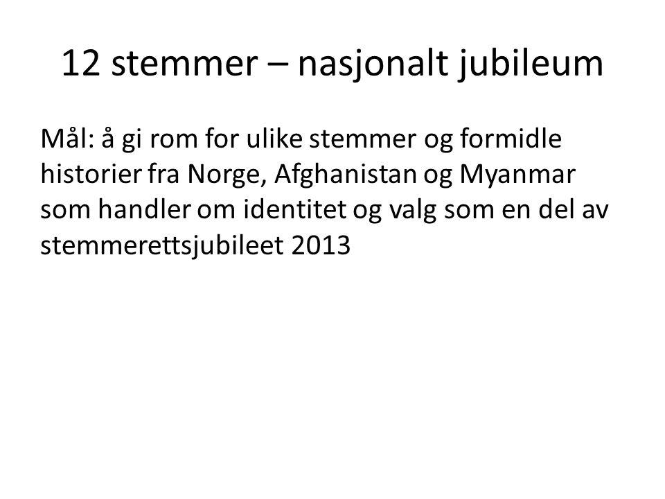 12 stemmer – nasjonalt jubileum Mål: å gi rom for ulike stemmer og formidle historier fra Norge, Afghanistan og Myanmar som handler om identitet og valg som en del av stemmerettsjubileet 2013