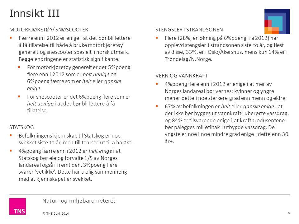 Natur- og miljøbarometeret © TNS Juni 2014 Innsikt III MOTORKJØRETØY/ SNØSCOOTER  Færre enn i 2012 er enige i at det bør bli lettere å få tillatelse til både å bruke motorkjøretøy generelt og snøscooter spesielt i norsk utmark.