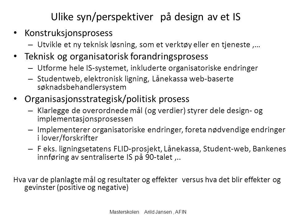 Ulike syn/perspektiver på design av et IS Konstruksjonsprosess – Utvikle et ny teknisk løsning, som et verktøy eller en tjeneste,… Teknisk og organisa