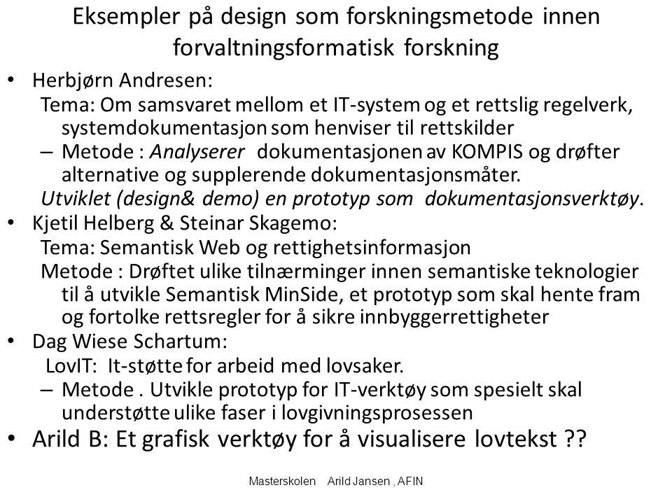 Eksempler på design som forskningsmetode innen forvaltningsformatisk forskning Herbjørn Andresen: Tema: Om samsvaret mellom et IT-system og et rettsli