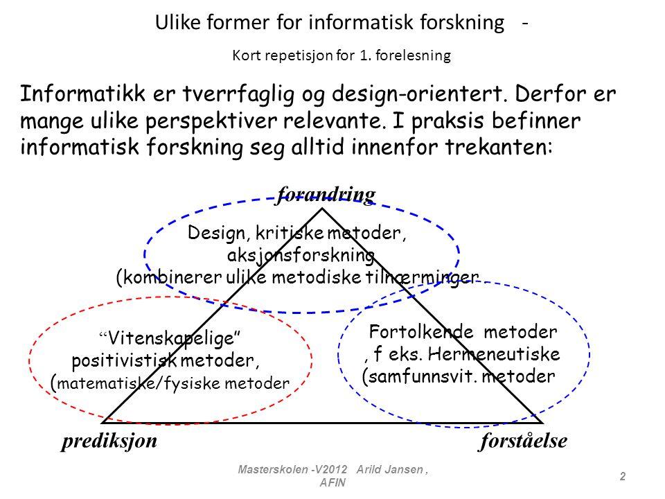 Masterskolen -V2012 Arild Jansen, AFIN 2 Ulike former for informatisk forskning - Kort repetisjon for 1. forelesning Informatikk er tverrfaglig og des