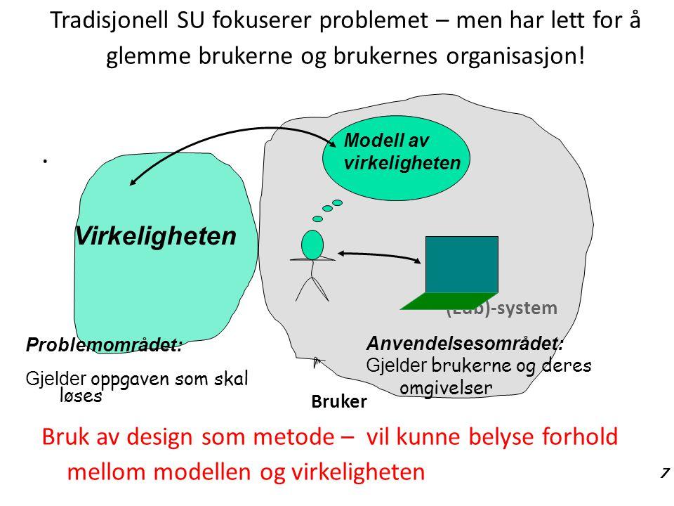 Tradisjonell SU fokuserer problemet – men har lett for å glemme brukerne og brukernes organisasjon!. (Edb)-system Bruker Bruk av design som metode – v