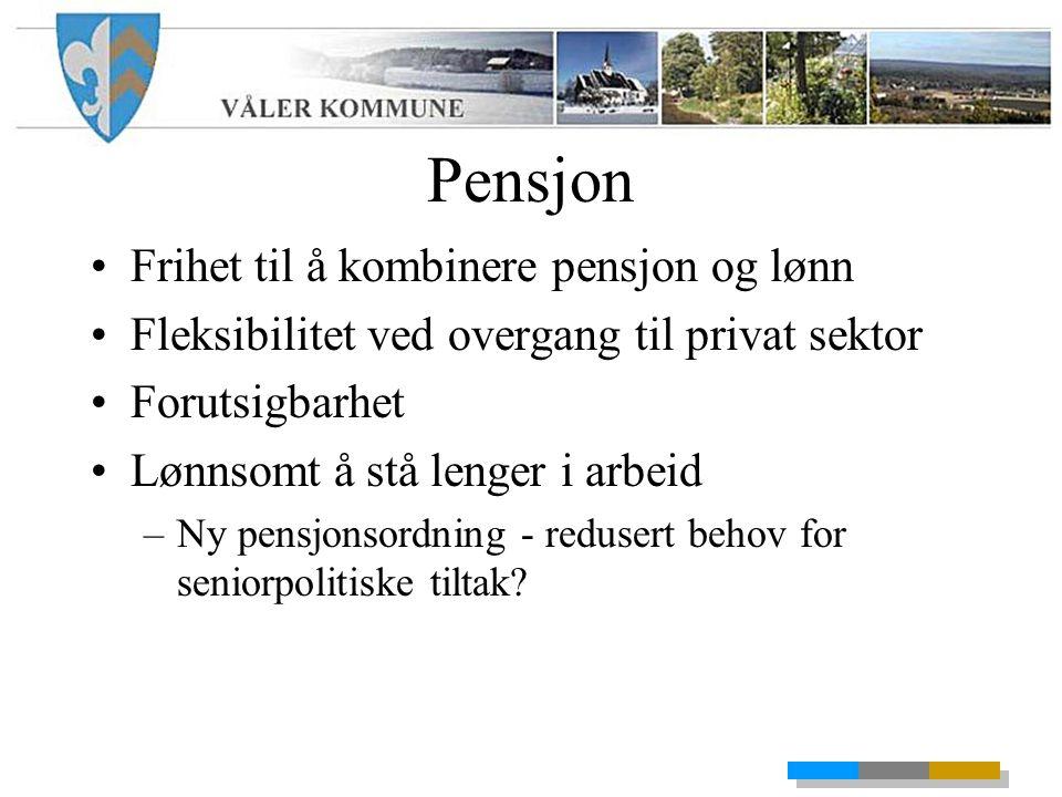 Pensjon Frihet til å kombinere pensjon og lønn Fleksibilitet ved overgang til privat sektor Forutsigbarhet Lønnsomt å stå lenger i arbeid –Ny pensjonsordning - redusert behov for seniorpolitiske tiltak