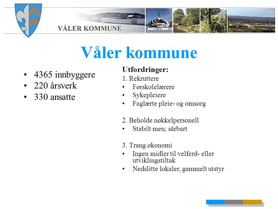 Våler kommune 4365 innbyggere 220 årsverk 330 ansatte Utfordringer: 1.