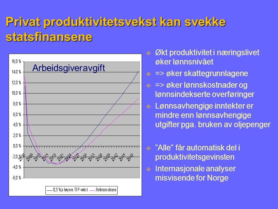 Privat produktivitetsvekst kan svekke statsfinansene Arbeidsgiveravgift