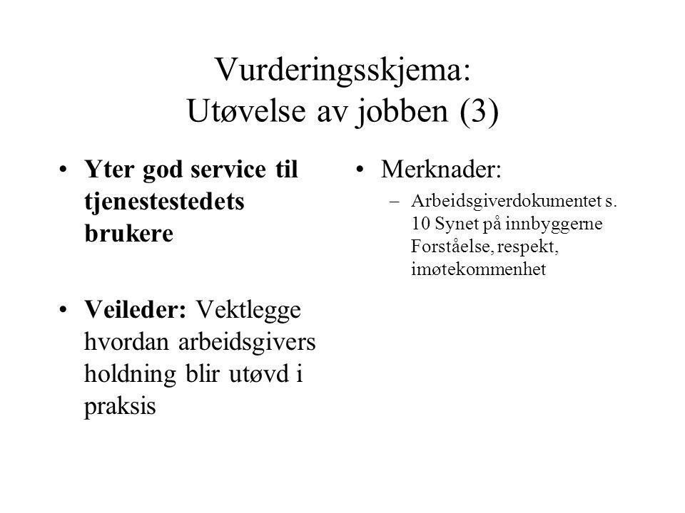 Vurderingsskjema: Utøvelse av jobben (3) Yter god service til tjenestestedets brukere Veileder: Vektlegge hvordan arbeidsgivers holdning blir utøvd i praksis Merknader: –Arbeidsgiverdokumentet s.