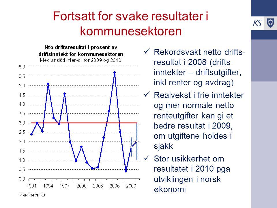 Fortsatt for svake resultater i kommunesektoren Rekordsvakt netto drifts- resultat i 2008 (drifts- inntekter – driftsutgifter, inkl renter og avdrag) Realvekst i frie inntekter og mer normale netto renteutgifter kan gi et bedre resultat i 2009, om utgiftene holdes i sjakk Stor usikkerhet om resultatet i 2010 pga utviklingen i norsk økonomi