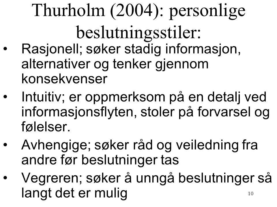 10 Thurholm (2004): personlige beslutningsstiler: Rasjonell; søker stadig informasjon, alternativer og tenker gjennom konsekvenser Intuitiv; er oppmer