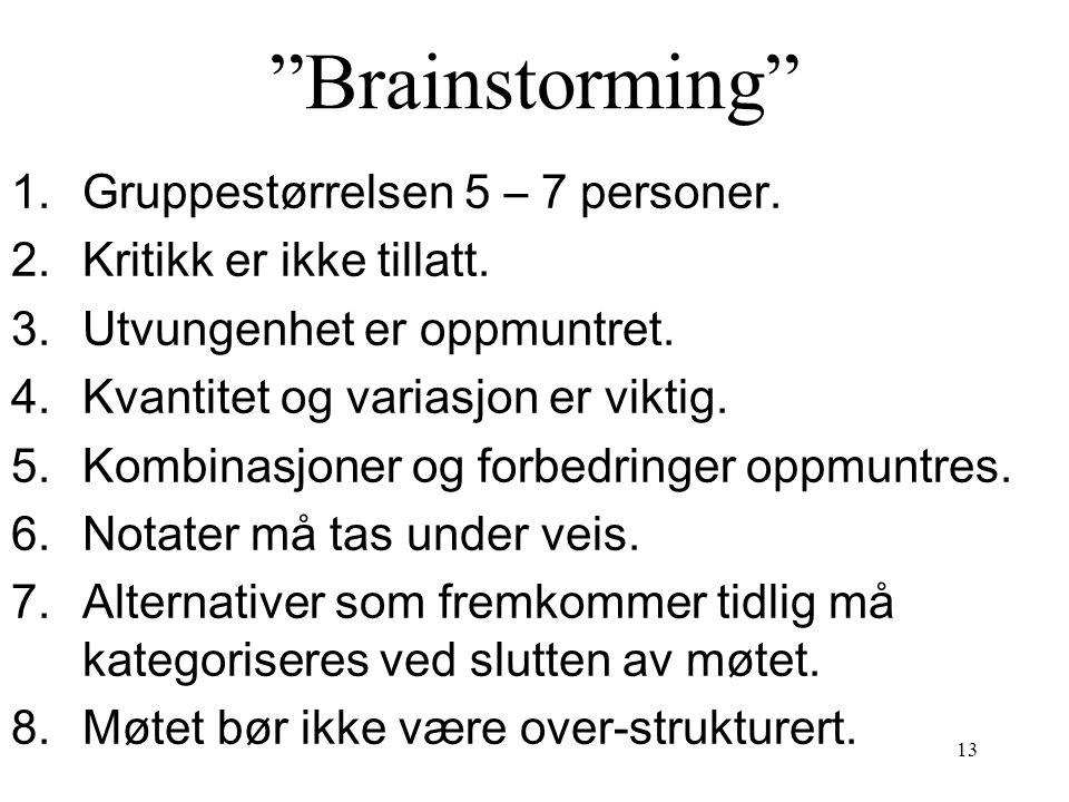"""13 """"Brainstorming"""" 1.Gruppestørrelsen 5 – 7 personer. 2.Kritikk er ikke tillatt. 3.Utvungenhet er oppmuntret. 4.Kvantitet og variasjon er viktig. 5.Ko"""