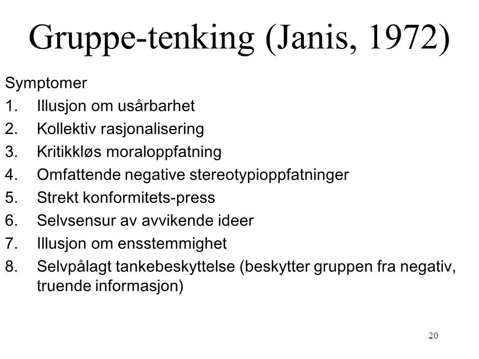 20 Gruppe-tenking (Janis, 1972) Symptomer 1.Illusjon om usårbarhet 2.Kollektiv rasjonalisering 3.Kritikkløs moraloppfatning 4.Omfattende negative ster