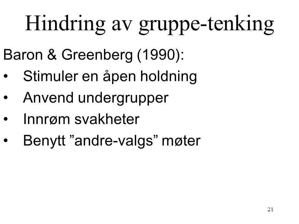 """21 Hindring av gruppe-tenking Baron & Greenberg (1990): Stimuler en åpen holdning Anvend undergrupper Innrøm svakheter Benytt """"andre-valgs"""" møter"""