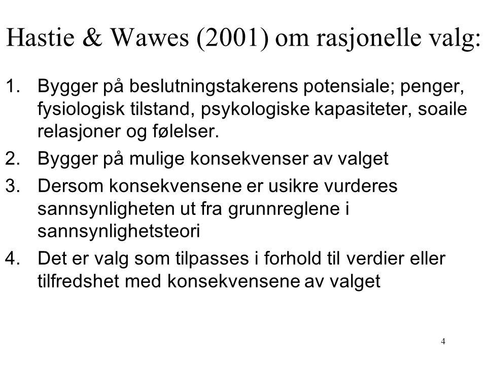 4 Hastie & Wawes (2001) om rasjonelle valg: 1.Bygger på beslutningstakerens potensiale; penger, fysiologisk tilstand, psykologiske kapasiteter, soaile