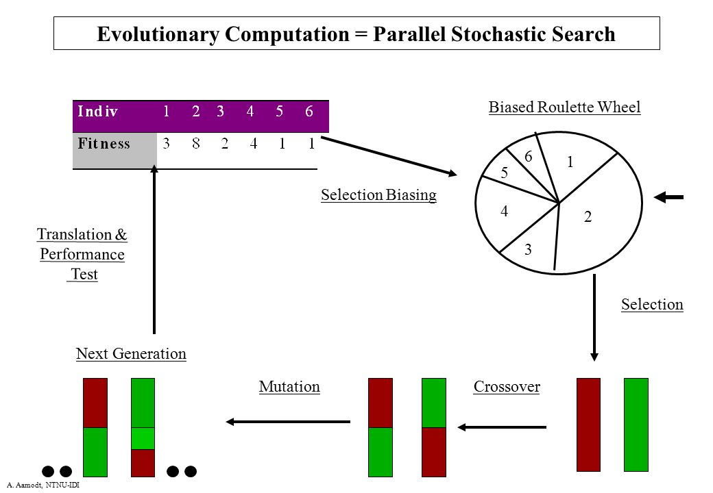 A. Aamodt, NTNU-IDI Evolutionary Computation = Parallel Stochastic Search 1 2 3 4 5 6 Biased Roulette Wheel CrossoverMutation Next Generation Selectio
