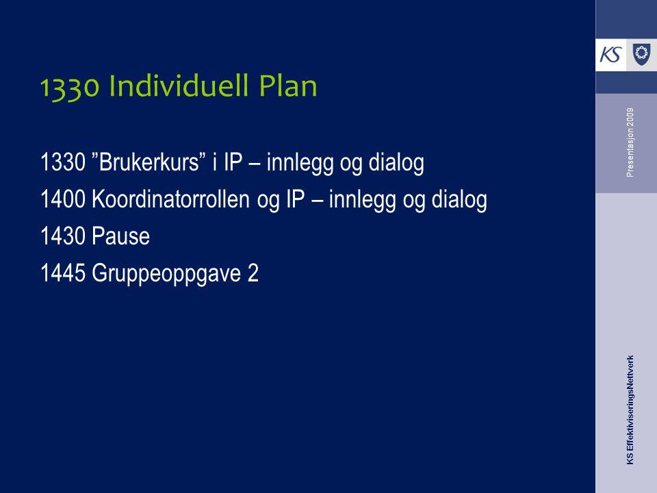 KS EffektiviseringsNettverk Presentasjon 2009 1330 Individuell Plan 1330 Brukerkurs i IP – innlegg og dialog 1400 Koordinatorrollen og IP – innlegg og dialog 1430 Pause 1445 Gruppeoppgave 2