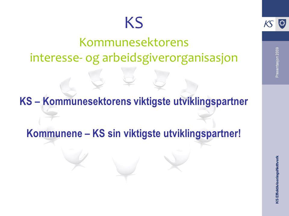 KS EffektiviseringsNettverk Presentasjon 2009 KS KS – Kommunesektorens viktigste utviklingspartner Kommunene – KS sin viktigste utviklingspartner! Kom